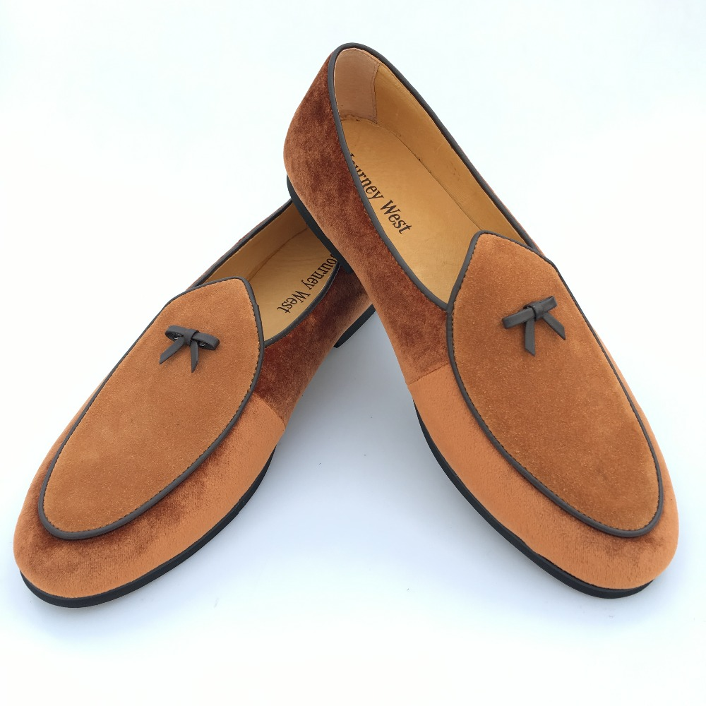 New Fashion Men Leather and Velvet Handmade Loafers Men Belgian Dress Shoes Brown Slippers Flats With Bowtie Men's Flats US 7-13 piergitar 2016 new india handmade luxurious embroidery men velvet shoes men dress shoes banquet and prom male plus size loafers