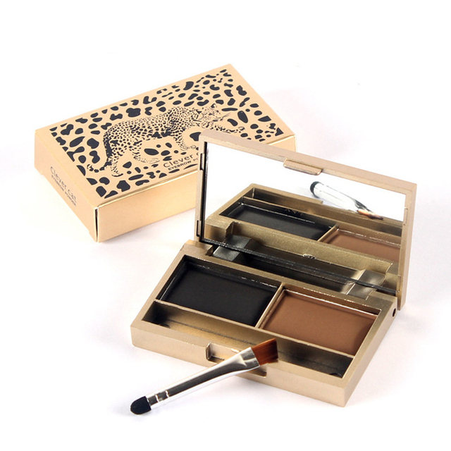 Maquillaje para cejas profesional, Realzador de cejas, 2 colores, impermeable, polvo para cejas, sombra de ojos, ceja con pincel, juego de paleta de maquillaje kit de