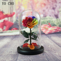 YO CHO 1pc Glass Cover Fresh Preserved Flower Rose Barbed Rose Flores Wedding Marriage Home Party Decoration Valentines Day Gift