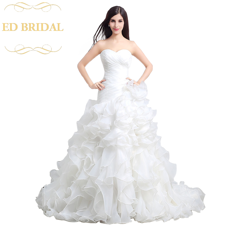 Sweetheart Dropped Waist Organza Ruffle Wedding Dress Bridal Wedding Gown
