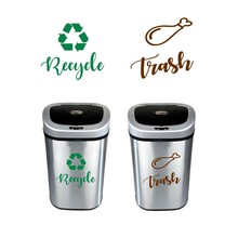 Recycle and Trash Sign Decals , Trash Can Green Recycle Vinyl Sticker Deocr , Trash Logo Decal kitchen Garbage Bin Art Decor(China)