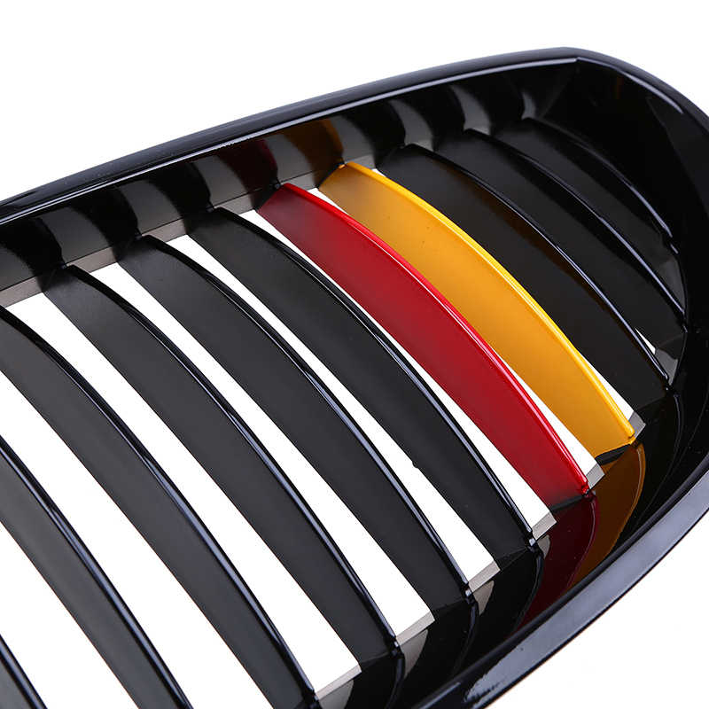 Possbay Ginjal Hood Grill Gloss Hitam Merah Kuning Depan Pusat Kisi-kisi untuk BMW 5-Series E60 530xd/535i /520D/540i Sedan 2003-2010