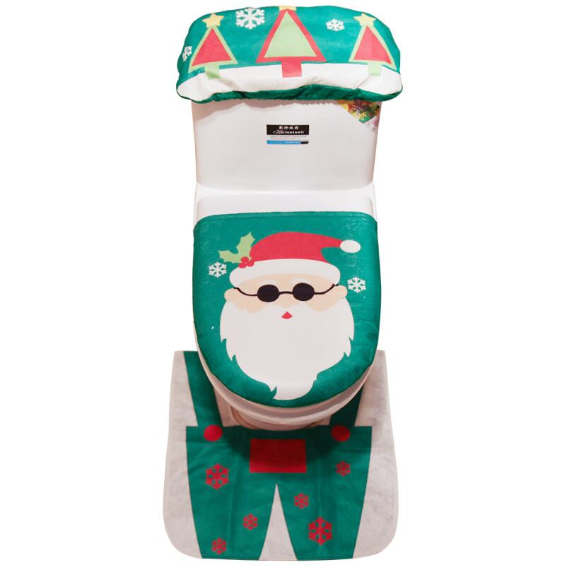 New Christmas Toilet Cover 3pc Set Toilet Seat Cover
