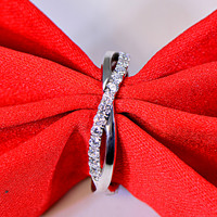 925 sterling silver man made diamant ring female twisted arm finger wedding ring band jewelry (JSA)
