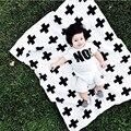 Saco de dormir del bebé manta de bebé negro blanco conejo lindo cisne cruz a cuadros de punto para sofá cama Cobertores Mantas colcha