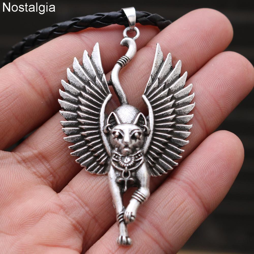 Image 2 - 10pcs Egyptian Bastet Sphinx Jewelry Egypt Amulet And Talisman  Cat With Angel Wings Pendant NecklacePendant Necklaces