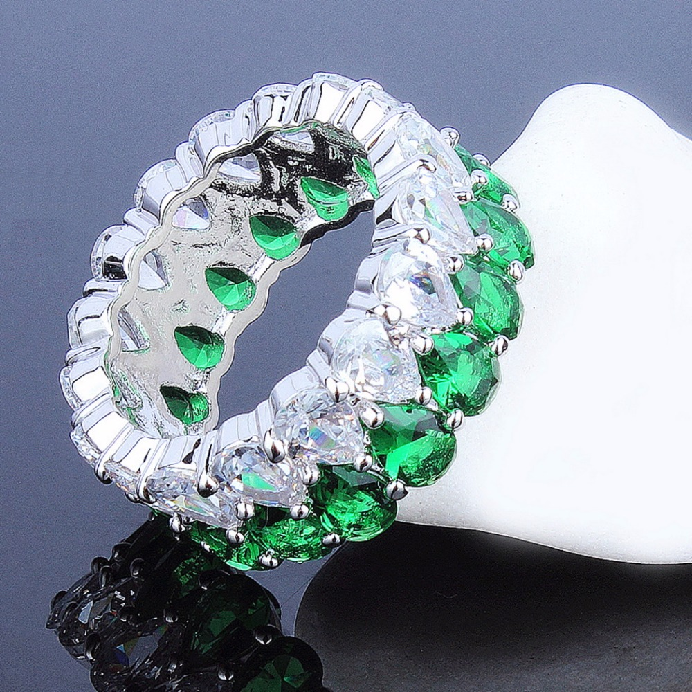 Color Stone Blue Green CZ Zircon Drop Crystals Engagement Party jewelry Fashion Eternity Rings Ladies Big Band rings for Wedding