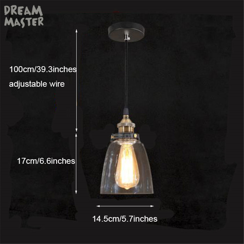 Vintage Industrial Edison Bulb Chandelier Light Wrought Iron Glass Lampshade Art Deco Rustic Coffee Bar Hanging Lamp In Chandeliers From Lights