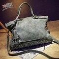 Angel Voices Rivet Women Nubuck Leather Handbag Tassel Messenger Bag Vintage Shoulder Bag Large Top-Handle Bags Mummy Package