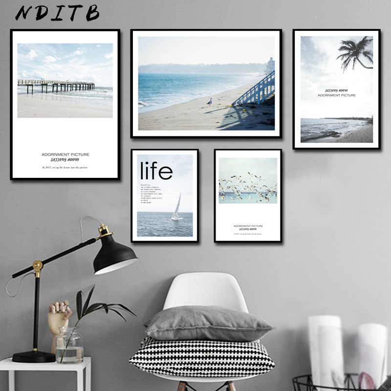 NDITB Scandinavian Sea Beach Coastal Canvas Art Poster Nordic Style Landscape Canvas Print Painting Wall Picture for Living Room