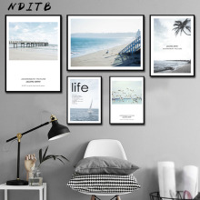 NDITB Scandinavian Sea Beach Coastal Canvas Art Poster Nordic Style Landscape Print Painting Wall Picture for Living Room