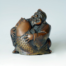ATLIE Pure Bronze Ebisu Sculpture Japan Myth Ocean God Figurine Statue for Home Decoration
