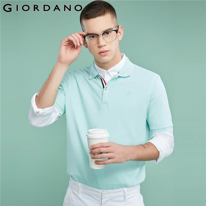 Image 4 - Giordano Men Polo Shirt Men Pique Fabric Slim Fit Short Sleeves Contrast Color Polo Men Shirt Smooth Durable Camisa Polo-in Polo from Men's Clothing