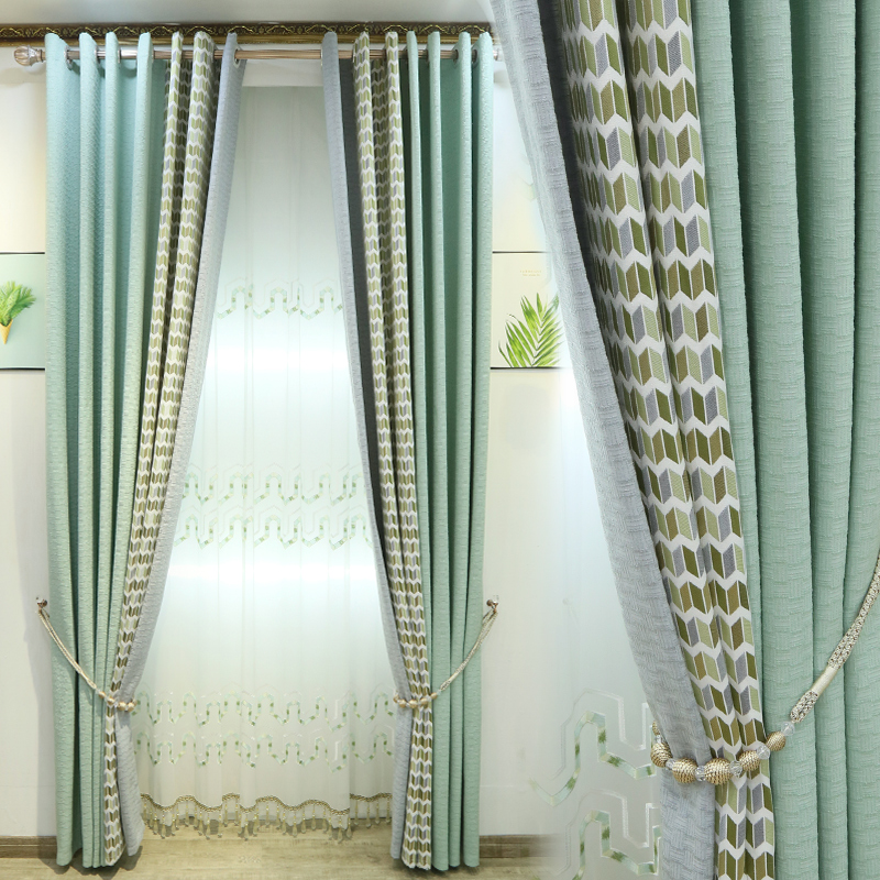 Custom curtain Nordic modern cotton geometric green splice livingroom bedroom window blackout curtain yarn tulle M680Custom curtain Nordic modern cotton geometric green splice livingroom bedroom window blackout curtain yarn tulle M680
