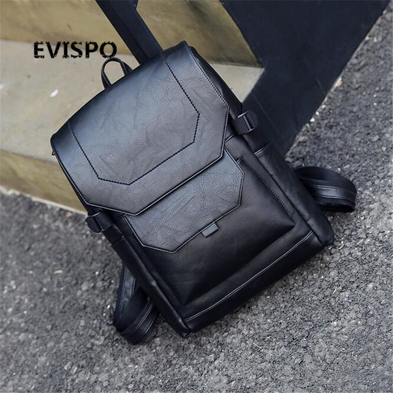 ФОТО EVISPO Fashion Men Backpacks Patent Leather School Bags For Teenagers Man Backpack Travel Book Bags Men Rucksack 2017 new