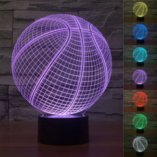 3D Illusion Led NightLight Amazing Basketball Table Lamp 7 Color Changeable USB Light with Touch Button Home Bedroom Decor Produ