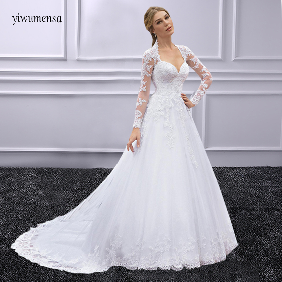 free shipping new fashion 2018 elegant lace appliques brides vestidos formales long bridal gown white   bridesmaid     dress