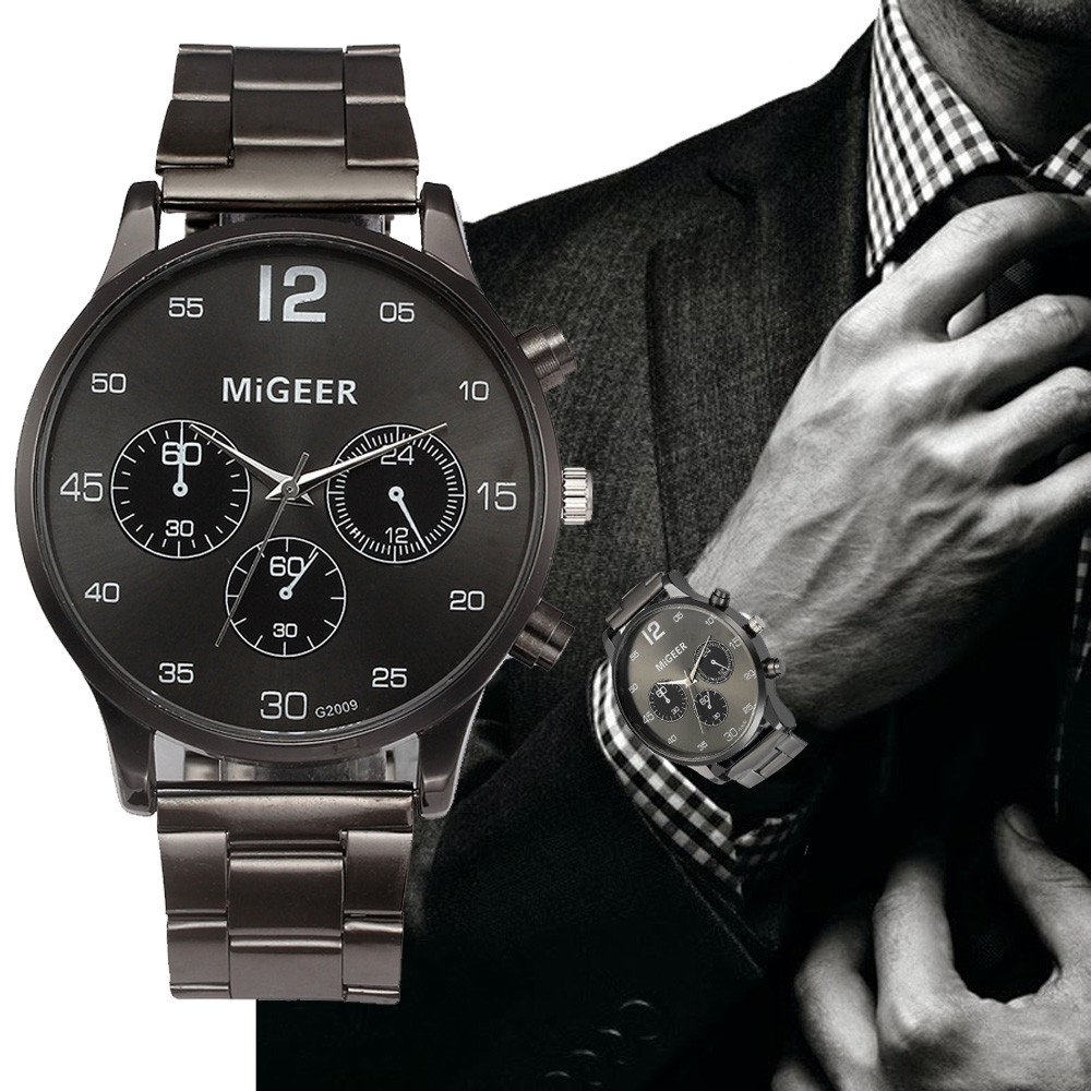 все цены на MIGEER Quartz Watch Men's Stainless Steel Mesh Band Watches Mens Top Brand Fashion Bracelet Analog Wrist Watches Relogio #LH онлайн