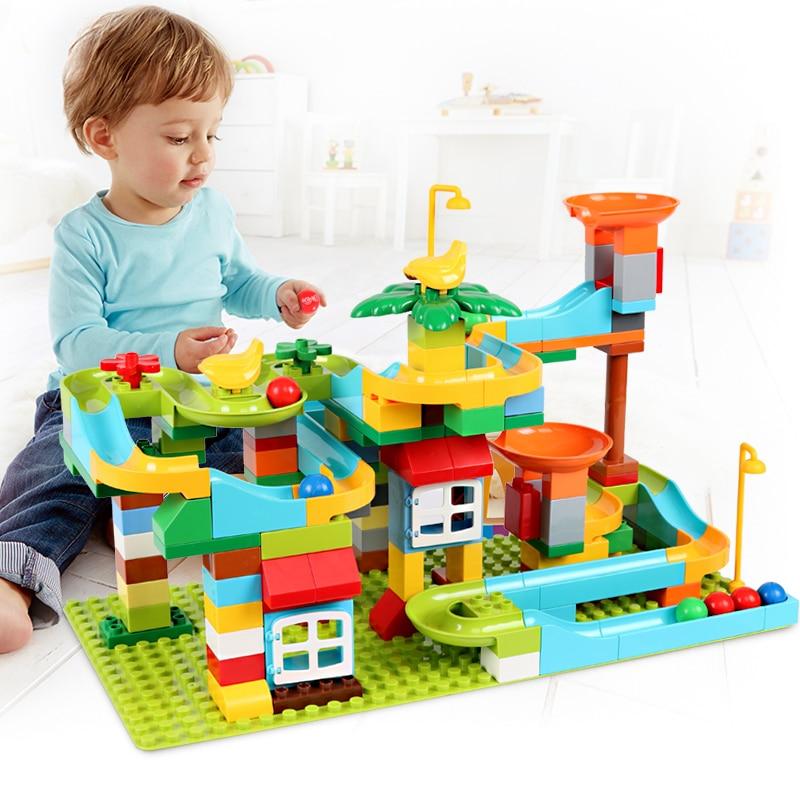 153 pièces marbre course course labyrinthe balle piste blocs de construction grande taille ABS entonnoir glisser assembler briques blocs jouets pour enfants cadeaux
