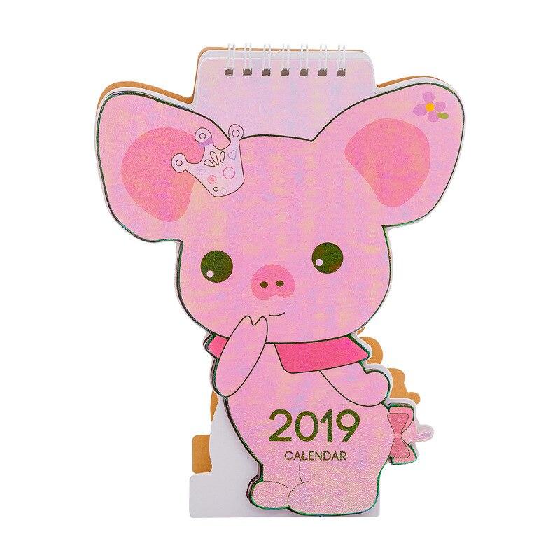 2019 Cute Unicorn Flamingo Pig Laser Mini Table Desktop Calendar Agenda Organizer Daily Schedule Planner 2018.10~2019.12 Calendar