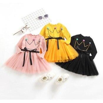 Del bambino Delle Ragazze Bambini Vestito di Autunno Dei Vestiti Del Manicotto Lungo Del Bambino Della Principessa Dress Abiti Vestiti