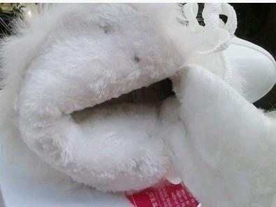 Hand-sewn White Rabbit Fur Winter Warm Shoes Woman Boots Flat Round Toe Short Plush Ankle Dames Enkellaarsjes Leer Waterproof