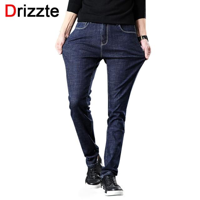 1175eadd2f Drizze hombres nuevos vaqueros de invierno de mezclilla para hombre  Pantalones vaqueros elásticos ajustados talla grande