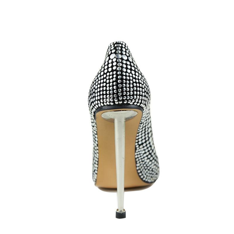 Del De Talón Metal Negro Mujeres Calidad Novia Marca Señora Lentejuelas Oficina Fiesta Tacones Bombas Zapatos Altos Stilettos Brillo Superior Nueva XwYvqzSx