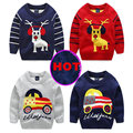 Children's sweater with deers cars knitswear stripes Kids pullover enfant garcon children christmas sueter jersey navidad KD006