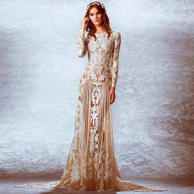 Champagne Wedding Gowns With Sleeves: Vintage Champagne Long Sleeves Plus Size Wedding Dresses