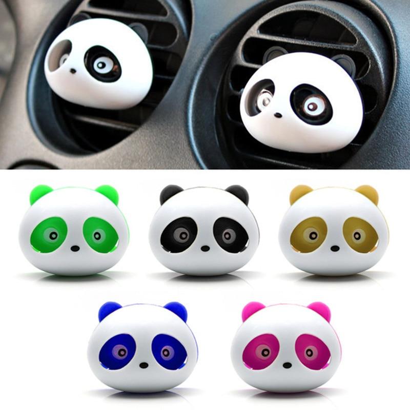 1 Set 2pcs New Car Styling Air Freshener Car Air Conditioning Vent Flavoring Perfume Panda Eyes Will Jump 5 Colors Parfume