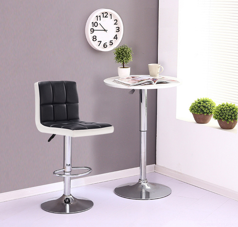 2pcs/set Contemporary Bar Stools Black And White Faux Leather Bar Chair Height Adjustable Lift Stool Bar Chaise De Bar FR HWC