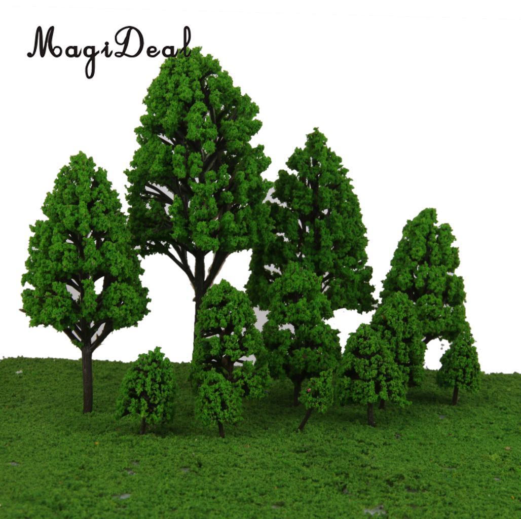 Magideal 12 pçs álamo modelo de árvores de plástico luz verde folhas ferroviário cena paisagem paisagem para o parque rua layout