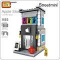 Mini calle de la ciudad bloques loz bloques creador apple juguete modelo de la casa de teléfono de ladrillos diy bloques de construcción de juguete ladrillos de arquitectura 1603