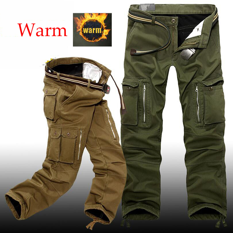 Men's Tactical Winter Baggy Cargo Pants Warm Thicken Fleece Pants Men Casual Cotton Military Pants Trousers Plus Size