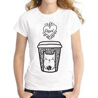 Bán buôn Mùa Hè doodle cat cà phê Shirts Dễ Thương Mèo T Áo Sơ Mi Phụ Nữ O-Cổ T-Shirt Casual Top Tees Camisa phụ nữ Ngắn Tay Áo