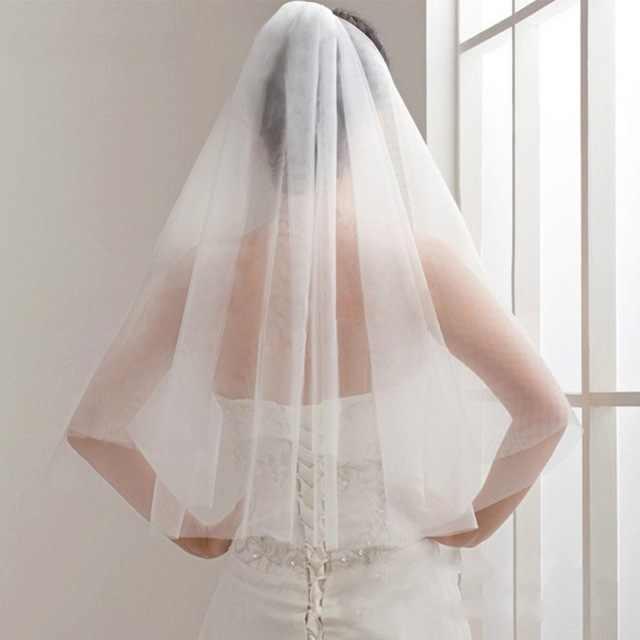 Kurze Tüll Hochzeit Schleier Günstige Weiß Elfenbein Braut Schleier für Braut für Mariage Hochzeit Zubehör hochzeit schleier kurze