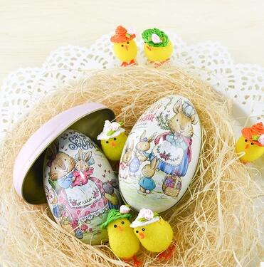 New 2pcs Easter Day Eggs Creative Gift Wedding Tin Box Pink and Blue Peter Rabbit Fashion Wedding Supplies Candy Packaging Box