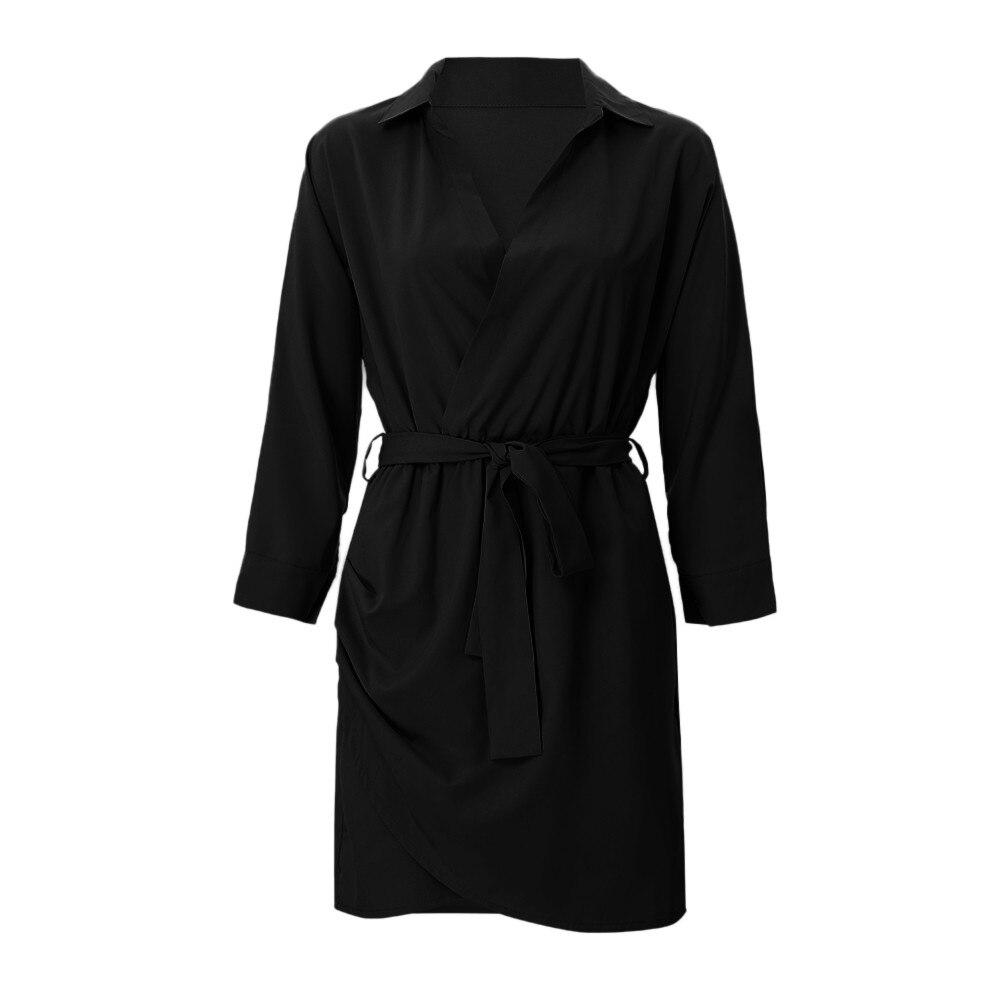 HTB1iuLzazzuK1RjSspeq6ziHVXaQ Shirt Fashion Summer Dress Women Autumn Dress Long Sleeve Turn-Down Collar T Shirt Dress 4 Colour Casual Mini Office Dress