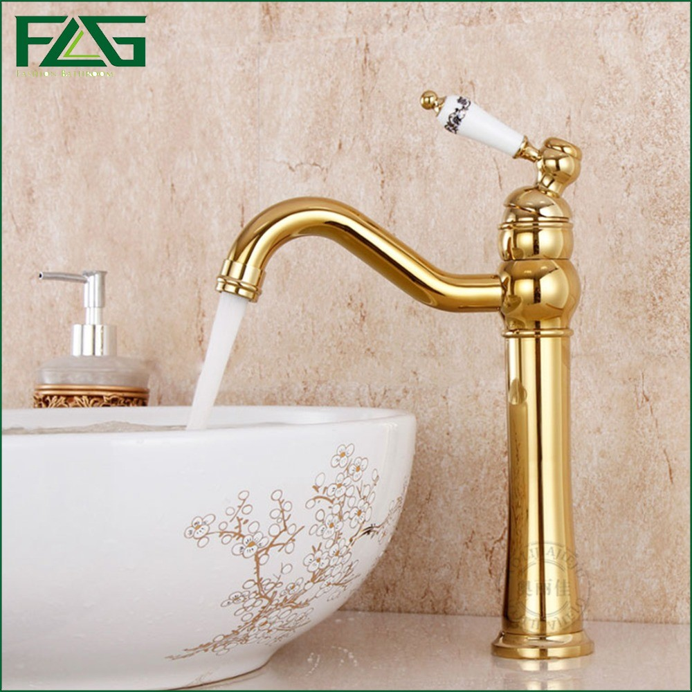 ФОТО FLG English Style Basin Faucet Gold Color 360 Degree Swivel Cold With Diamond And Porcelain Golden Classic Bathroom Faucet 3018k