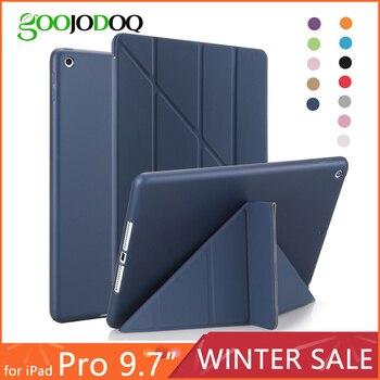 Untuk iPad Pro 9.7 Case, smart Cover dengan TPU Silikon Lembut Kembali Multi Lipat Berdiri Tablet Case untuk iPad Pro 9.7 Inch 2016 Tritone
