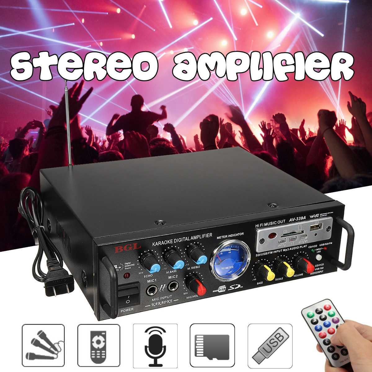 CLAITE 2019 Latest 12V 220V 80W Mini Power Stereo Amplifier Home High Power Audio Amplifier Music Player