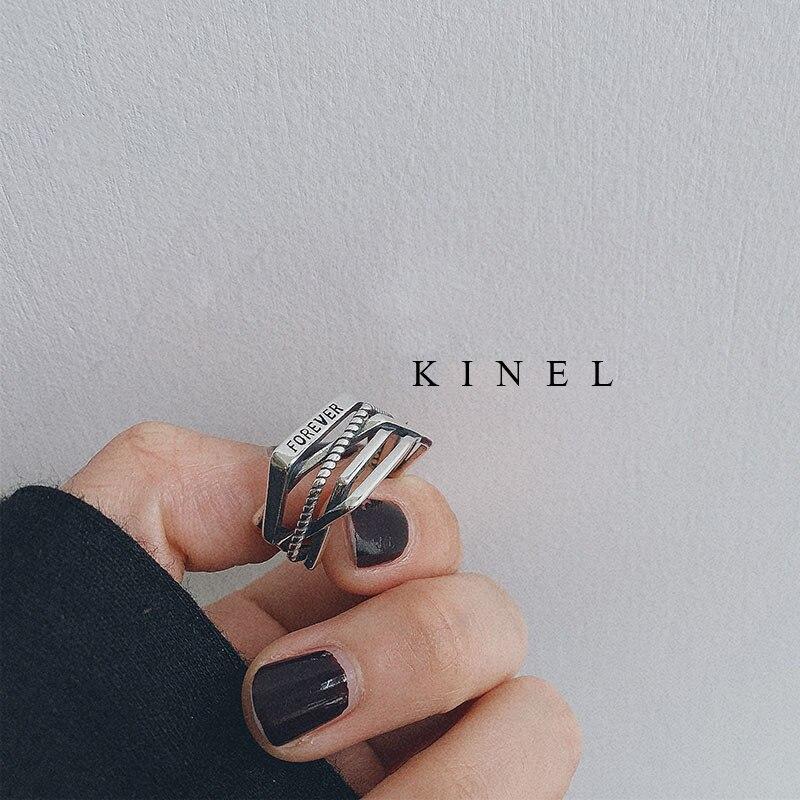 Kinel Лидер продаж, кольцо из стерлингового серебра 925 пробы с гладким винтом и геометрическим узором, Двухслойное кольцо с открытым пальцем для женщин, модные ювелирные изделия, подарок|Кольца|   | АлиЭкспресс