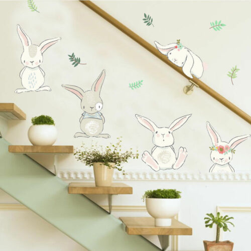 Meilleure vente 50x70cm amovible enfants bébé dessin animé lapin Stickers muraux salon lapin Mural décalcomanie décoration bricolage mignon