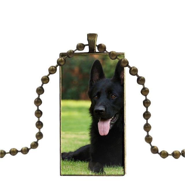 German Shepherd Dog Alsation Glass Cabochon Pendant Bronze Necklace Gift