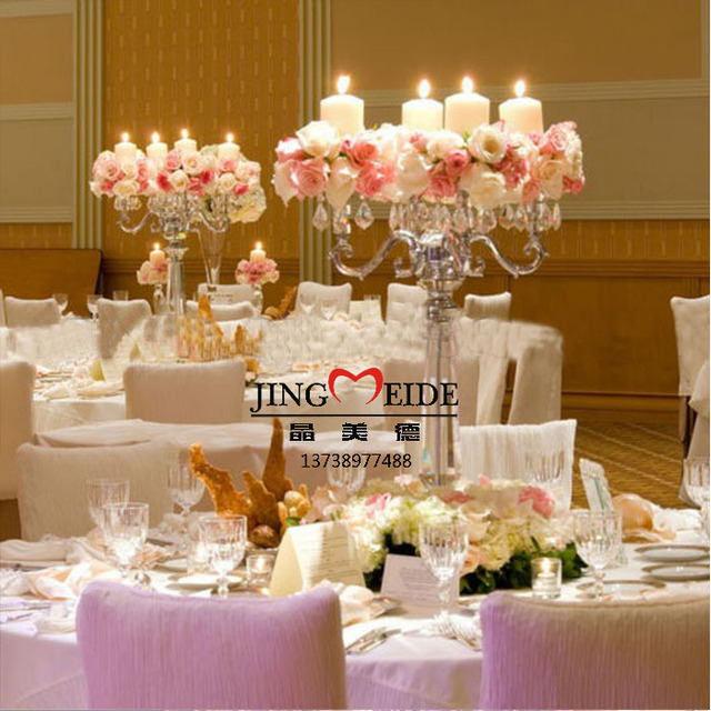 Flower And Candle Wedding Centerpieces: Metal Crystal Candleholder With Jewelry Middle Can Put
