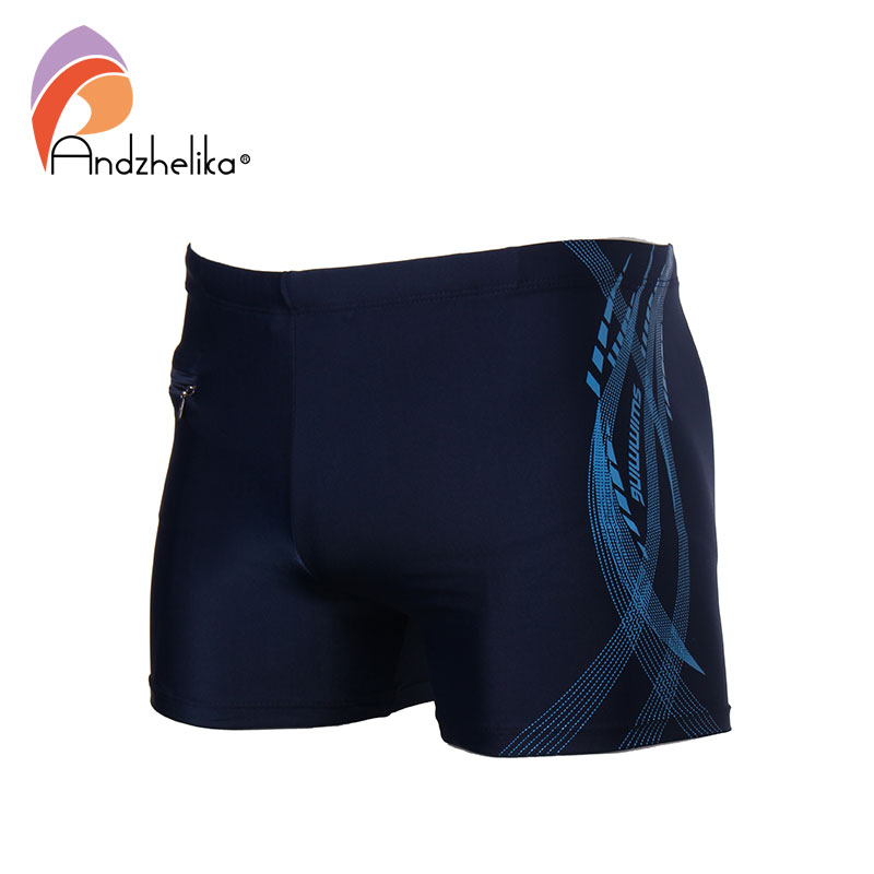 Andzhelika 2018 New Men Breathable Men's Swimsuits Swimming Trunks Sport Briefs Swim Suits Maillot De Bain Zipper Beach Shorts breathable stripe swimming trunks