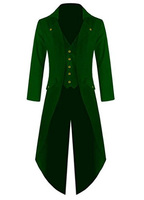Free Shipping Men's Steampunk Vintage Tailcoat Jacket Gothic Victorian Frock Green Coat and Vest Uniform Costume For Halloween