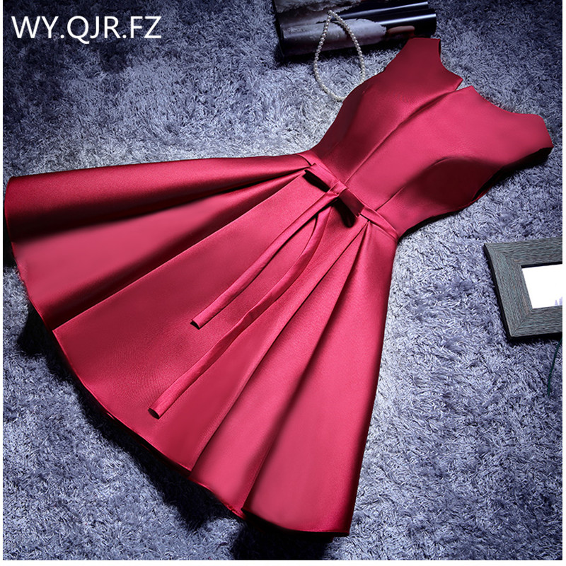 YLL034#Boat Neck Lace up Twill Satin champagne pink red   Prom     Dresses   Short Bride Wedding Party Toast   Dress   girl Gown Wholesale