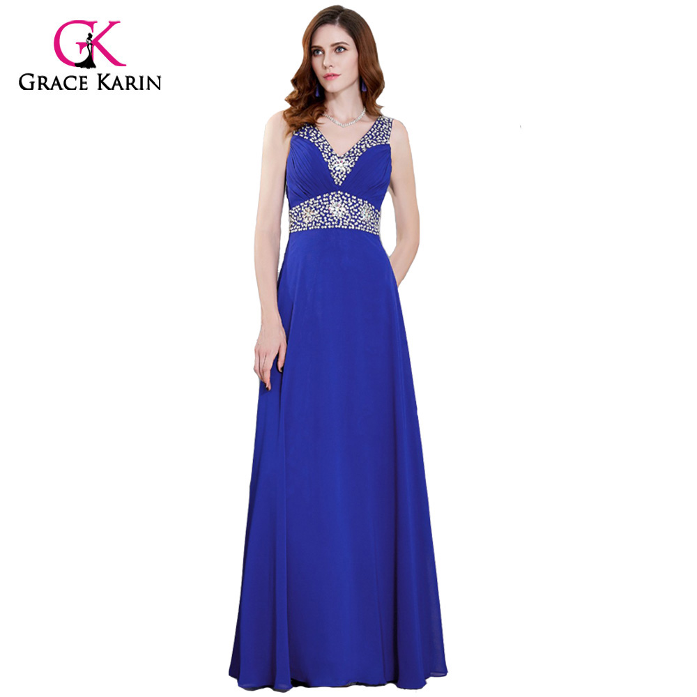 c870749bd9 Grace Karin Long Prom Dresses 2018 V Neck Chiffon Spaghetti Strap Royal  Blue Formal Gowns Special Occasion Dresses Evening Party